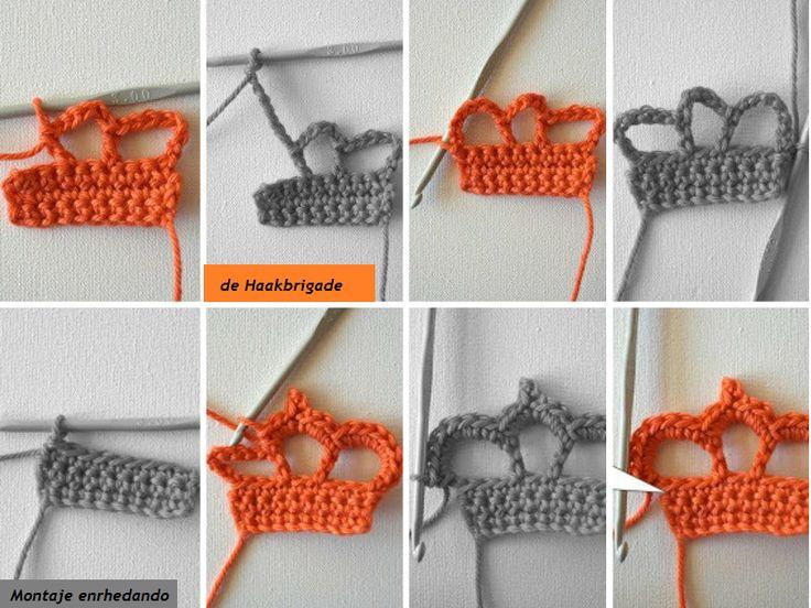 Broche Corona en Crochet. Tutorial - Patrones Crochet