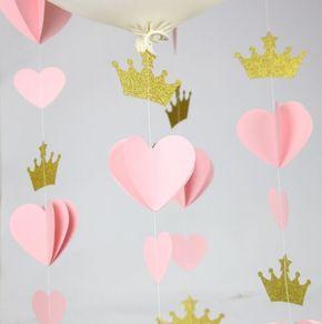 Princess Crown Corazón Guirnalda Decoración Del Partido Nursery Decor Corona Bunting Photo Prop Pink Birthday Party Girl Room Decor