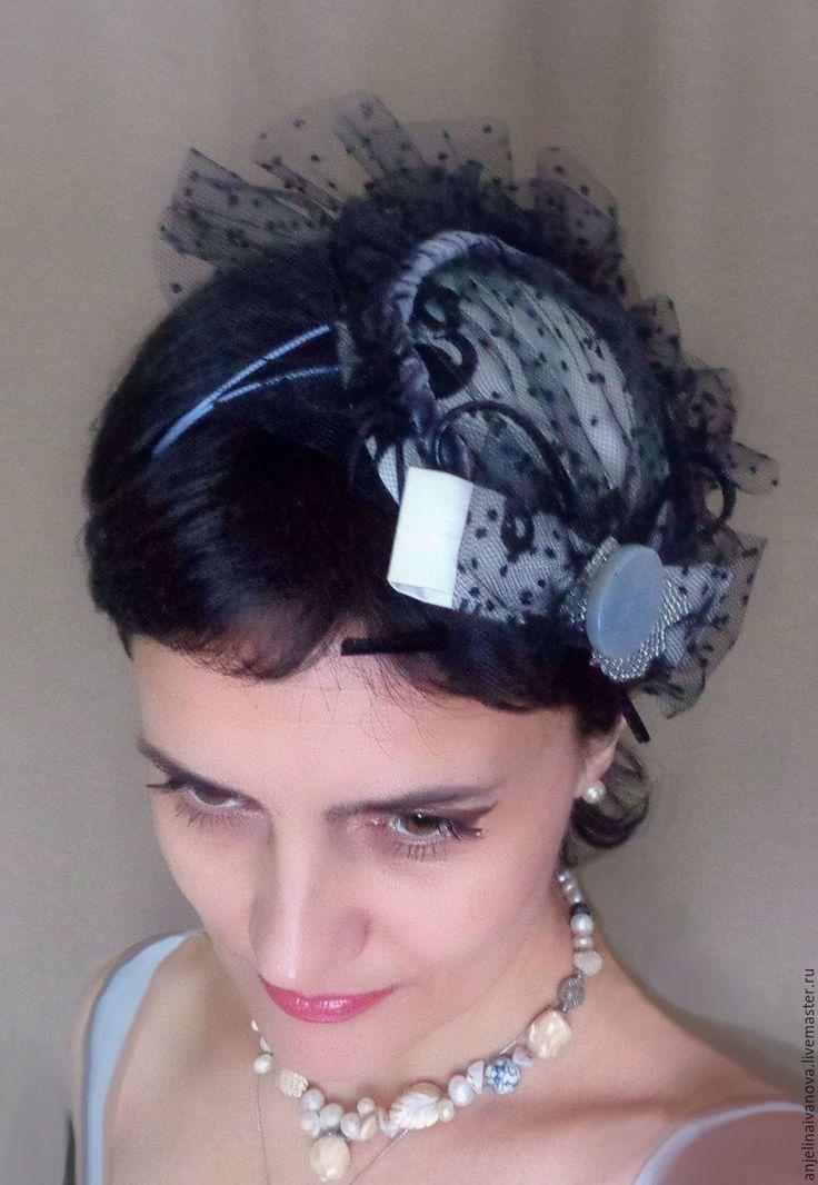 Купить Фламинго;шляпка вуалетка украшение - черно-белая шляпка, шляпка вуалетка, шляпка с вуалью