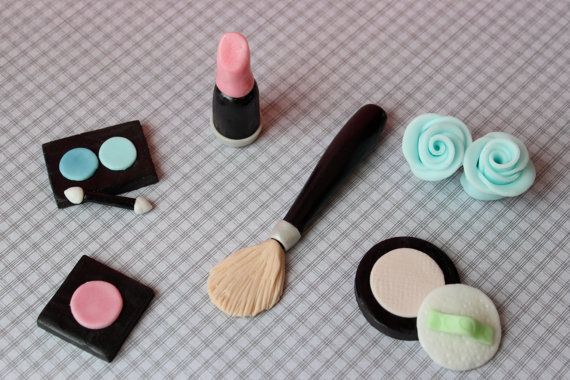 Fondant Make Up Cake Topper Set