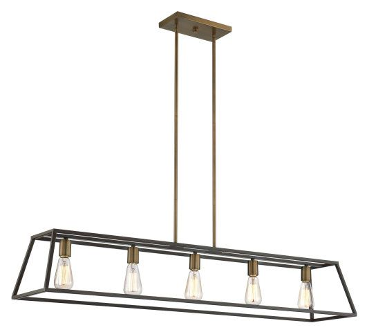 Dennis Retro Kitchen Linear Island Pendant Lighting Clear: VINTAGE INDUSTRIAL TAPERED CAGE :: LINEAR FIXTURES (ISLAND