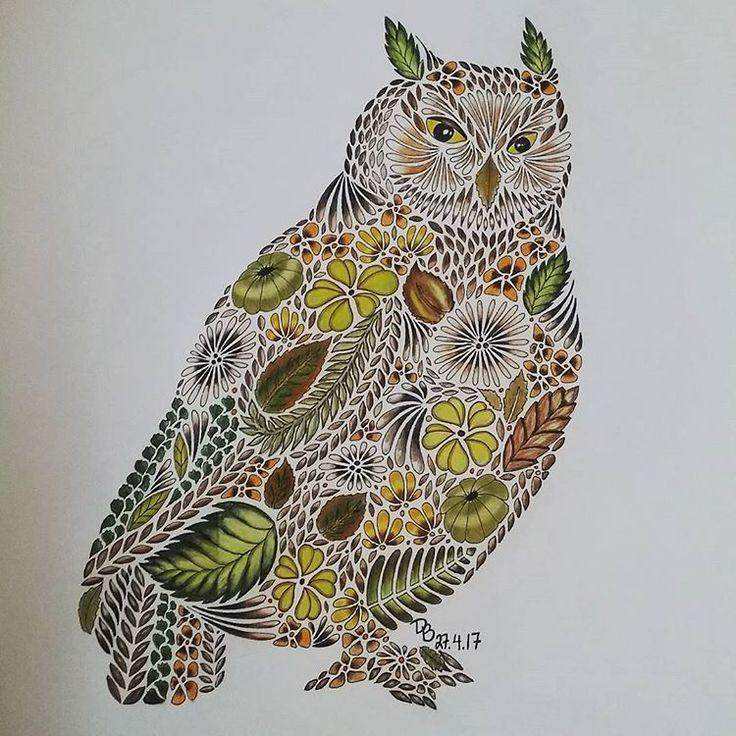 Relaxa med #milliemarotta . Detta har jag hållit på med sista tiden. ✏ Jag har använt vanliga färgpennor , känner att jag får investera i riktiga snart.  #milliemarotta #owl #adultcoloringbook #målarbokförvuxna #måla #färgpennor #colorpencil #relax