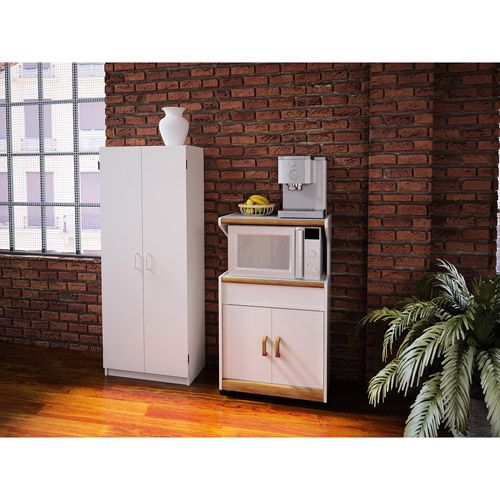 Kitchen Pantry At Walmart: Double Pantry & Microwave Cabinet With Shelves Value Bundle