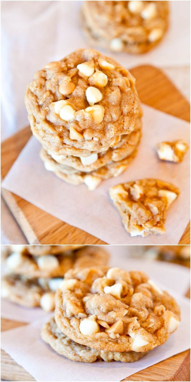 Soft and Chewy Peanut Butter Oatmeal White Chocolate Cookies - Combining 3 favorite cookies into one so you don't have to choose which to make! Easy, no-mixer dough!