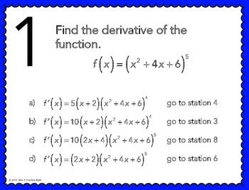 Derivatives Using the Chain Rule Stations Maze Activity