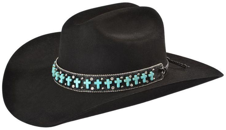 Katydid Faux Turquoise Cross Studded Black Leather Hat Band - Sheplers
