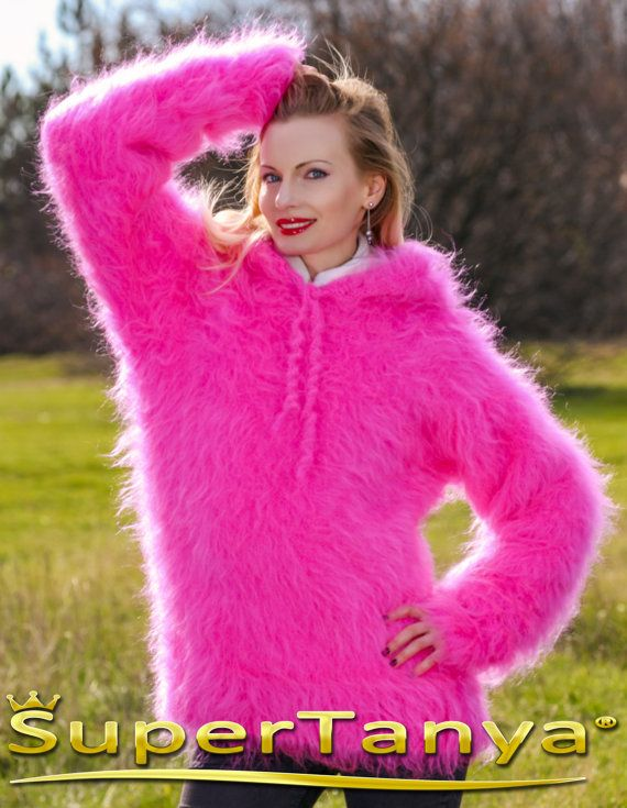 Made to order hand knitted warm hoodie mohair sweater in neon