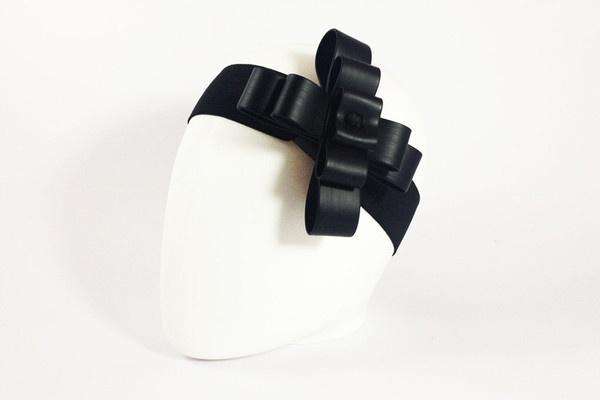 Headband - Cristian Dorigatti Black Rubber Cockade Hairband