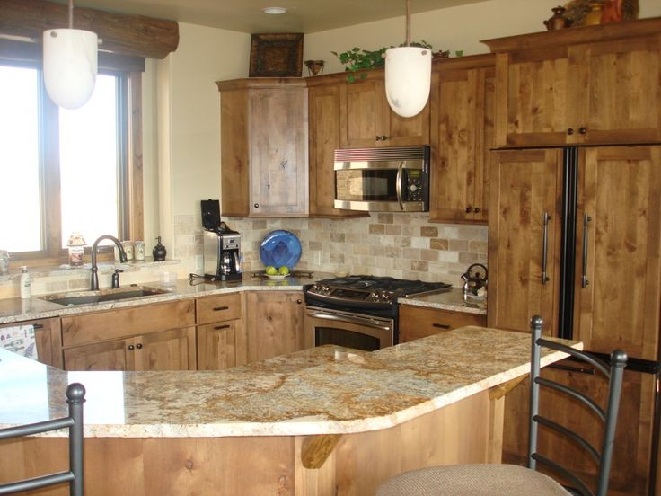 Open Kitchen Design Ideas With Elegant Wood Kitchen Counter And Minimalist Brown Light Granite Kitchen Table Also Single Sink Kitchen And Di...