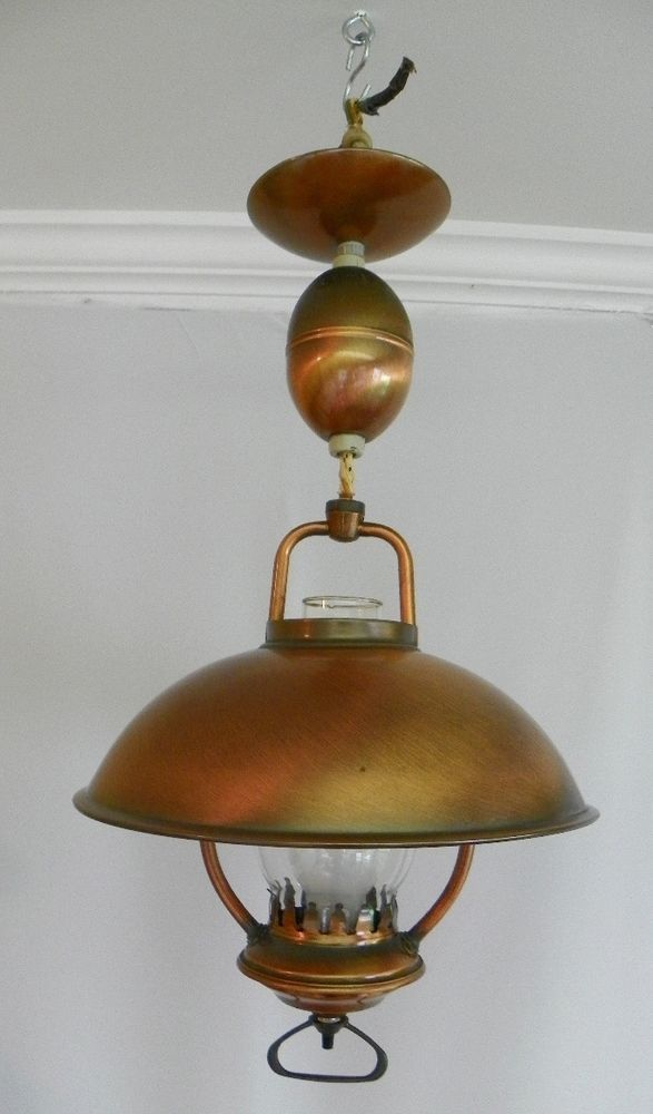 Details About Mid Century Moe Copper Rustic Pull Down Ceiling Light Original 1950s 1960s