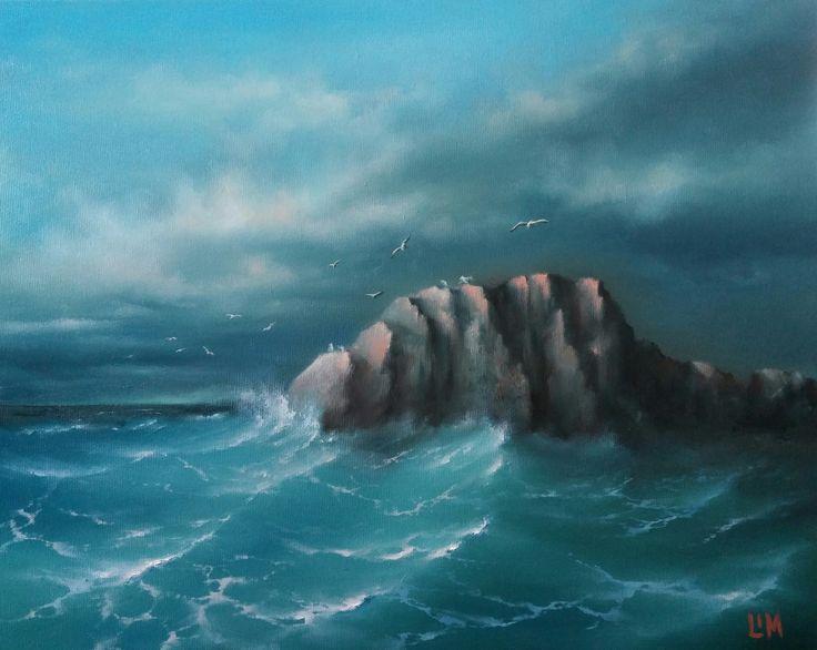 живопись - морской пейзаж, купить картину чайки м скала