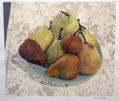 Cressida Campbell - Pears with linen cloth, mixed media on paper, 2004