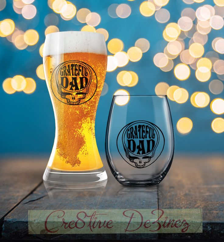 Grateful Dad, Dad Beer Glass, Grateful Dead, Father's Day Gift, Drinking Glass for Dad, Dad Wine Glass, Father Drinking Glass, Dad Mug by Cre8tiveDeZinez on Etsy