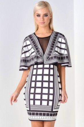 Ophelia Monochrome Printed Bodycon Dress