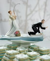 Gone Fishing Porcelain Wedding Cake Topper - Caucasian Couple