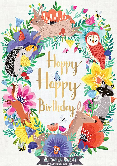 Best 25 Happy Birthday Illustration Ideas On Pinterest Animals Wishing Happy Birthday