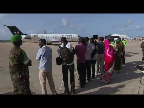 FOCUS ON SOMALIA: Air Uganda Ep.17 - The wheels of an inaugural Air Uganda flight has touched down in the Horn of African nation of Somalia . The maiden voyage from Kampala to Mogadishu, makes Uganda's premier airline the latest carrier to invest in Somalia's economic recovery, with the three weekly flights it has announced.