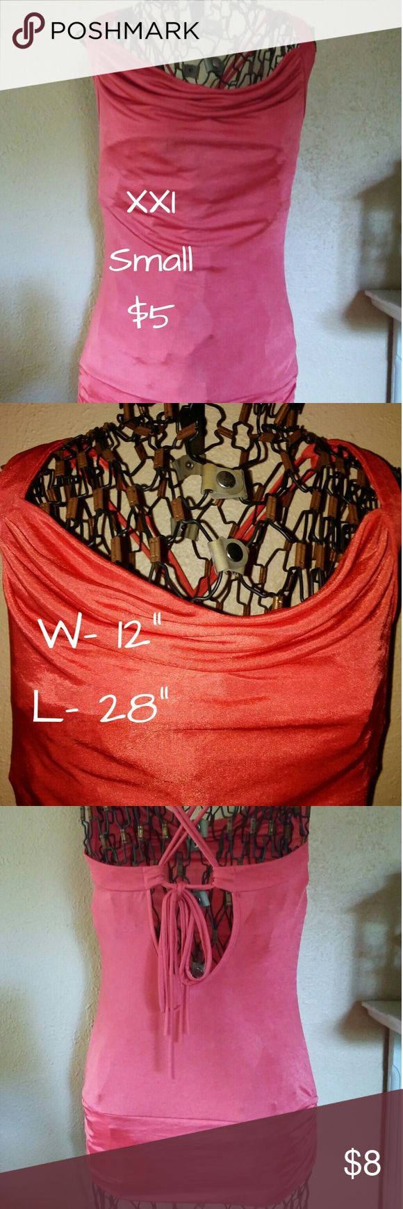 XXI orange strappy back top XXI orange strappy back top with adjustable strings banded bottom with rouched sides. Size Small. XXI Tops Tank Tops