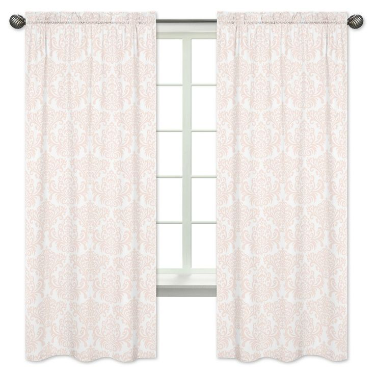 Sweet Jojo Designs Window Panels - Amelia - 2pk - Pink & White Damask