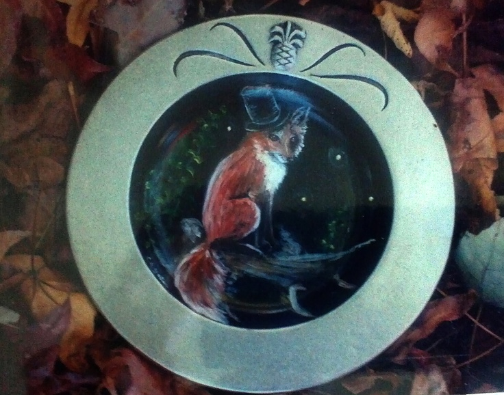 Mystic fox with top hat on pewter plate. http://greaseandgrace.com/