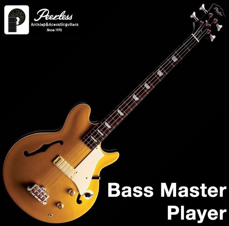 Peerless Bassmaster Player Hollow Body Goldtop 4 String Gold OHSC Chicken Switch #Peerless