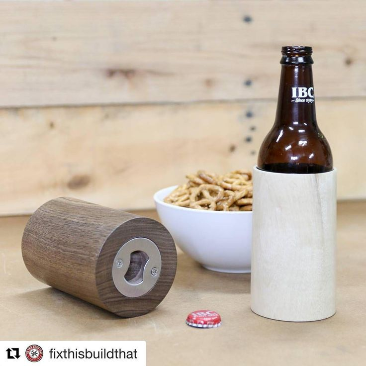 wooden koozie with a bottle opener on the bottom.