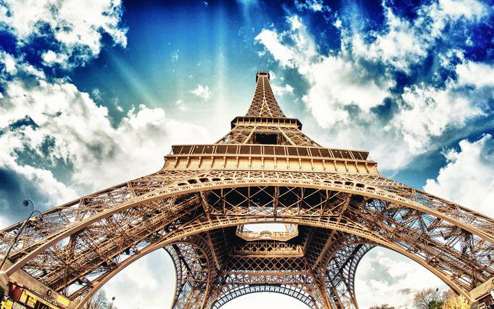 Lataa kuva 4k, Eiffel-Torni, sininen taivas, pilvet, HDR, Pariisi, Ranska