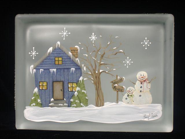 Designs by Cheryl Skalski-Hand Painted Glass Blocks