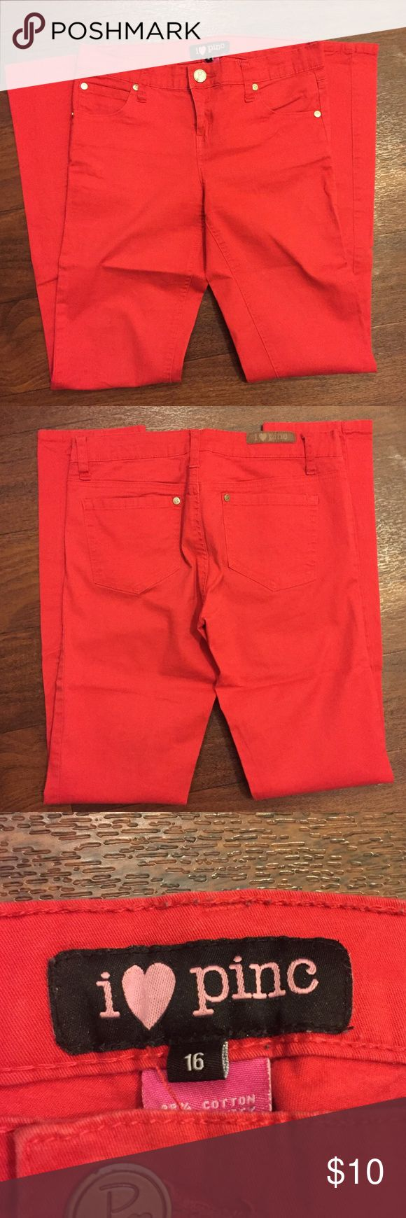Red skinny pants Red stretchy skinny pants Bottoms Jeans