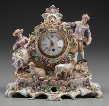 63211: A DRESDEN-STYLE PORCELAIN FIGURAL CLOCK, late 19 : Lot 63211