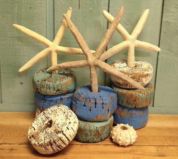 Some Ideas for the Beach , Nautical Wedding decoration. Painted Cork Floats Vintage Fishing Net Float Set of 3 by CastawaysHall.
