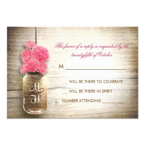 beautiful rustic wedding RSVP - wedding reply cards with distressed wood background and mason jar with pink color flowers . I suggest a beautiful texture linen paper for this design.