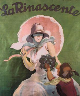 La Rinascente, bambina con fiori e damo con ombrellino