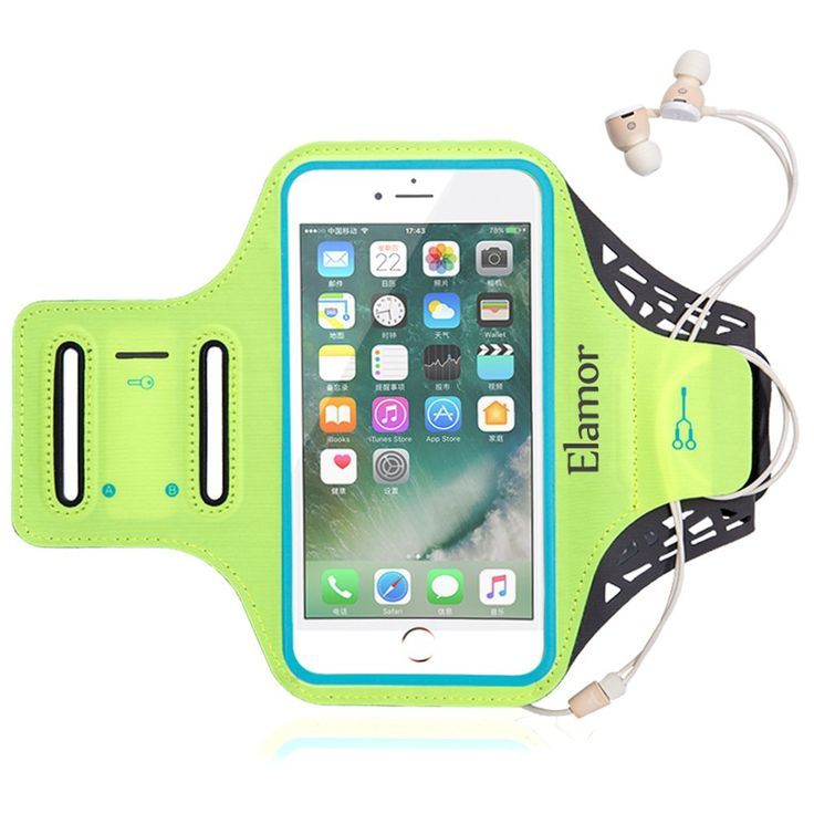 """iPhone 7 Plus Armband (Home Button Compatible), Elamor Sport Running Armband for 5.5 inch Screen With Reflective Strip and Key Holder/Card Slots. Our Armband Can Support iPhone 7 Plus(Compatible with Home Button),iPhone 6 plus,iPhone 6S, Samsung S6, S6 Edge, S5, Note 3, LG G4 As Well As Any Phone That Has A Screen Up To 5.5"""". Three Ways Adjustable Strap: Double Slots Design Armband Will Fit Almost Arm Size Up To 15"""". The Middle Extra Velcro Can Fit Many Grils' Slim Arm. High Quality Lycra..."""