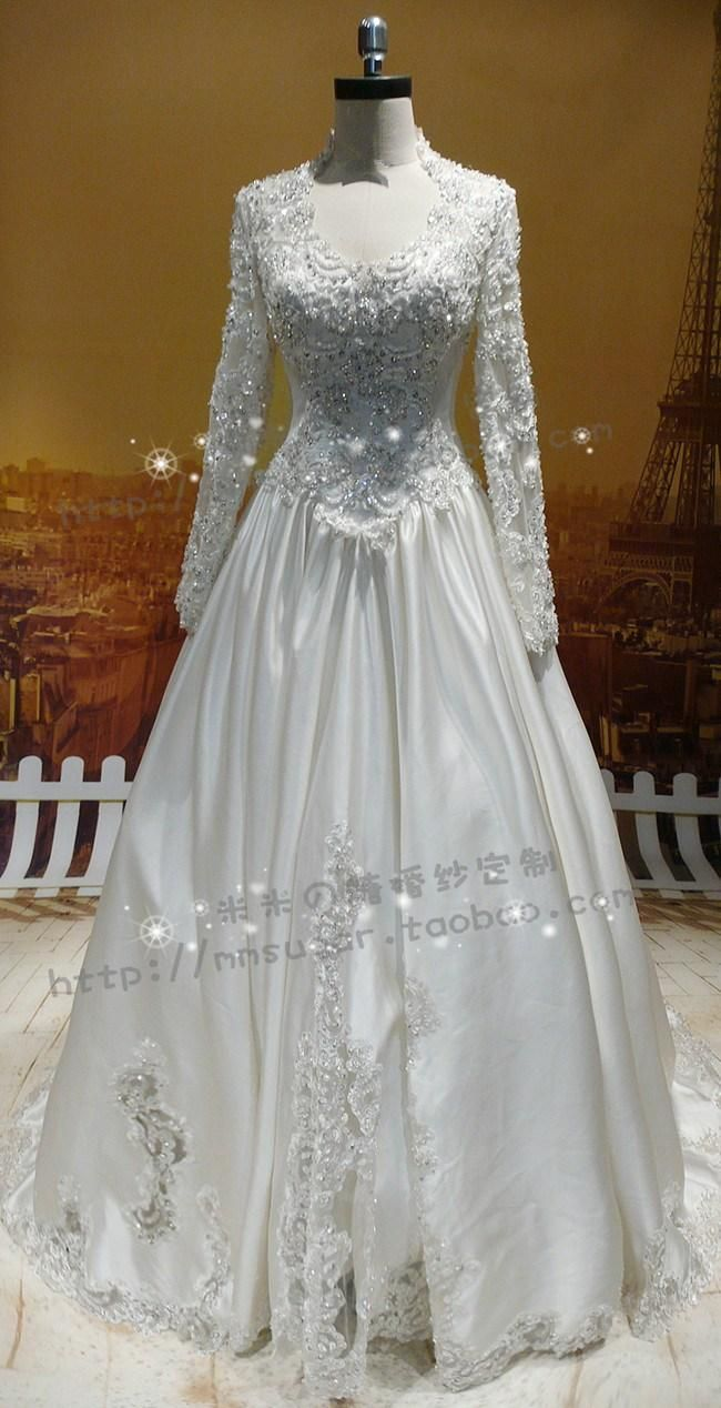 Wholesale 2015 Real Sample Islamic Muslim Wedding Dresses Long Sleeve Ball Gown Satin Appliqued Beaded Vestido de noiva Plus Size Bridal Dresses, Free shipping, $221.47/Piece | DHgate Mobile