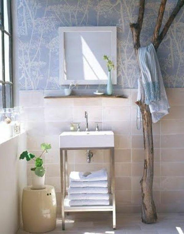 hänger für badetücher im badezimmer - aus treibholz gefertigt - Wunderbare Treibholz Deko, die auch praktisch sein kann – 45 verblüffende Ideen Cole & Son Cow Parsley wallpaper