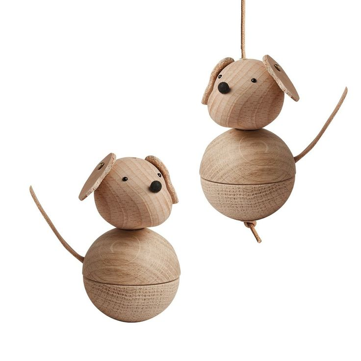 Wooden Danish toys / Cute wood dog mobile or sitting ornament / $59 / shop yours at Peppa Penny