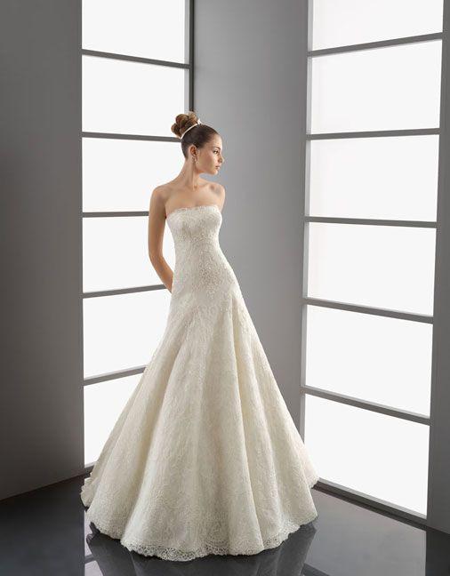 Princess with detachable high neck lace wedding dress