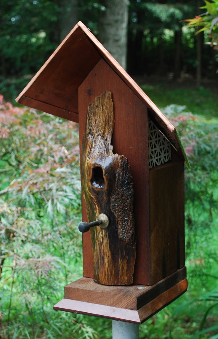 Window bird house as seen on tv - Rustic Reclaimed Redwood Bird House With Copper Roof