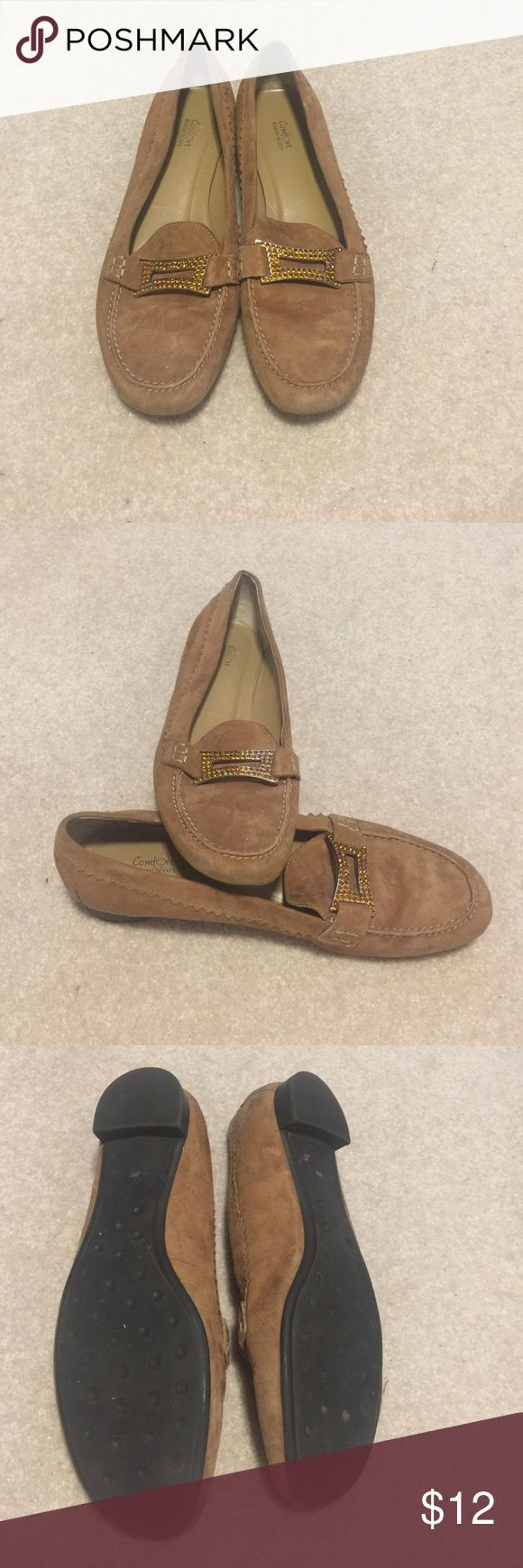 Tan loafers Tan loafers with orange buckle. In great condition! Karen Scott Shoes Flats & Loafers