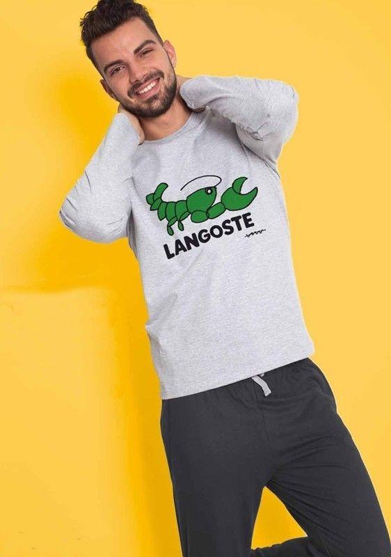 Pijamas Cállate la boca caballero gris jaspeado - 58659 Gris - Pijama juvenil en algodón fino de manga larga y pantalón largo, para usar perfectamente durante todo el año. #hombre #modahombre #ropainterior http://www.varelaintimo.com/marca/5/callate-la-boca