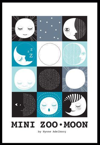 Mini Zoo Moon Plakat, A3 – Mini Zoo by Nynne Adelborg