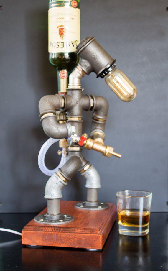 Liquor alcohol whisky dispenser, Firefighter Gift for him, Jack Daniels Birthday gift, Steampunk Fireman pipe robot lamp
