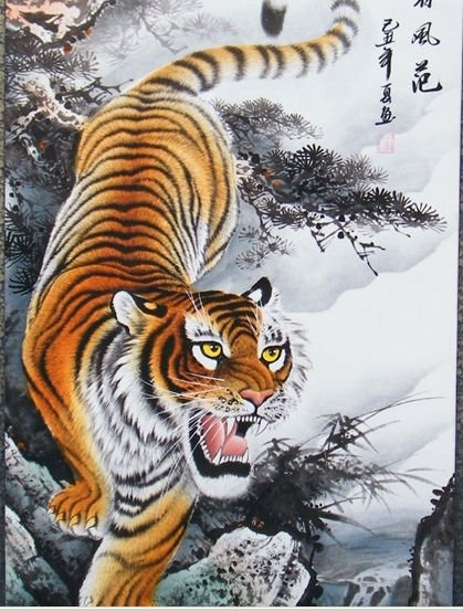 The tiger traditional Chinese painting came down from the ...