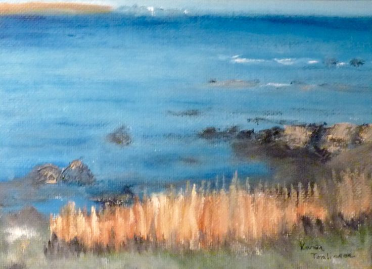 Original oil on canvas 5x7 Nova Scotia coast. By Karen Tomlinson