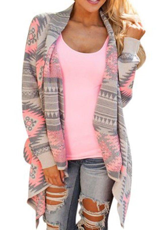 Multicolor Geometric Turndown Collar Long Sleeve Cardigan Sweater