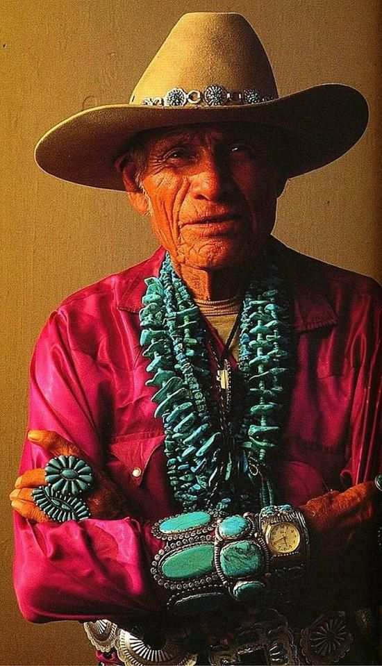 ☆ Navajo (Dine') man. The Pueblo, Navajo and Apache tribes greatly prize turquoise for its use in amulets and pendants. The use of turquoise with silver to create distinctive jewellery by Navajo and other South West Native American peoples is thought to be a modern development (circa 1880) as a result of European influences. There are many cultural beliefs in the using of turquoise for religious reasons. ☆