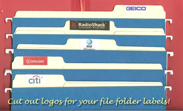 Cut out logos from the bills for your file folder labels.  Crafty and visual for those with ADHD