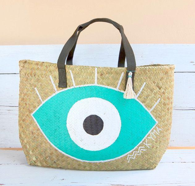 Strandtasche Korbtasche IbizaKorb FrenchBasket Nazar Lucky Eye - ein Designerstück von kymastyle bei DaWanda