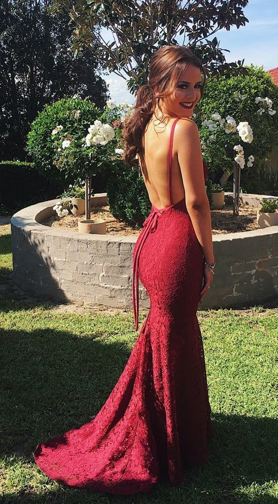 498ab3b3a3 Gorgeous Mermaid Burgundy Lace Long Evening Dress in 2019